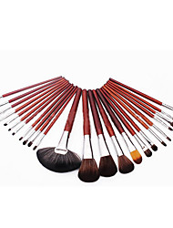 24 Makeup Brushes Set Synthetic Hair Full Coverage Wood Face