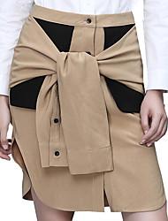 Women's Color Block Brown SkirtsSimple Above Knee