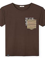 Trenduality® Hommes Col Arrondi Manche Courtes T-shirt Marron-43232