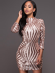 Women's Casual/Daily / Club Sexy / Street chic Bodycon DressSolid Sequins Backless Crew Neck Above Knee Long Sleeve Gold / Silver Spring / Fall