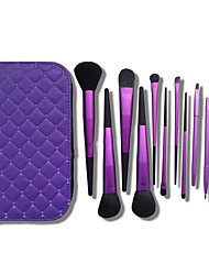 11 Makeup Brushes Set Synthetic Hair Full Coverage Metal Face / Gift Package
