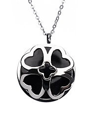 Fashion Black Acrylic Inlay Titanium Steel Four Clover Leaf Pendant Necklace Sweater Chain Necklace