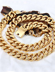 Kalen 72cm Long Cuban Chain Necklace 316 Stainless Steel 18K Gold Plated 440g Heavy Chunky Link Chain Necklace Men's Costume Accessory