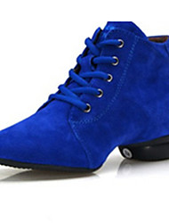 Non Customizable Women's Dance Shoes Leather Leather Modern Heels Chunky Heel Performance Black / Blue / Brown / Red