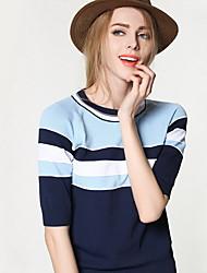 Damen Standard Pullover-Ausgehen Lässig/Alltäglich Einfach Niedlich Gestreift Einfarbig Blau Rundhalsausschnitt ¾-Arm Nylon Sommer Mittel