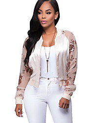 Women's Going out / Casual/Daily Sexy / Street chic Sequins All Match JacketsPatchwork Round Neck Long Sleeve Spring / Fall Medium