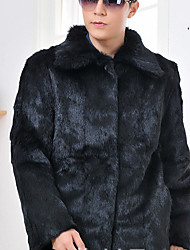 Men's Casual/Daily Simple Fur Coat,Solid Shirt Collar Long Sleeve Winter Black Rabbit Fur Thick