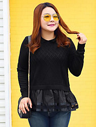 Women's Casual/Daily Plus Size Simple Regular Pullover,Solid Black Round Neck Long Sleeve Wool Cotton Polyester Nylon Fall Winter Medium