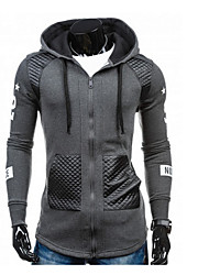 Men's Casual/Daily Active Simple Hoodie Jacket Solid Micro-elastic Cotton Long Sleeve Spring Fall