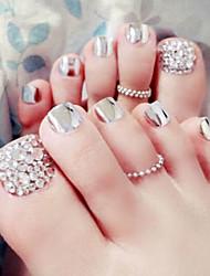 24pcs / set tiras de unhas de unhas dos pés de prata metálicos produto acabado pé patch