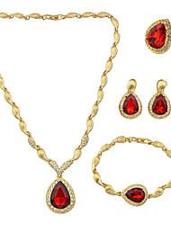 Schmuck 1 Halskette 1 Paar Ohrringe 1 Armreif 1 Ring Strass Hochzeit Party Alltag Normal 1 Set Damen Rot Hochzeitsgeschenke