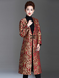 1898 Women's Plus Size / Casual/Daily Sophisticated CoatJacquard V Neck Long Sleeve Winter Gold Polyester