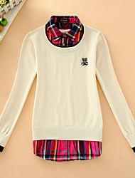 Damen Kurz Pullover-Lässig/Alltäglich Einfach Patchwork Blau Beige Grau Hemdkragen Langarm Baumwolle Herbst Mittel Mikro-elastisch