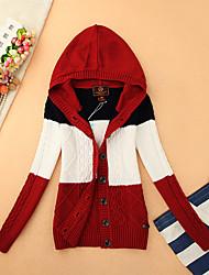 Damen Kurz Strickjacke-Lässig/Alltäglich Einfach Gestreift Rot Grau Mit Kapuze Langarm Baumwolle Herbst Winter Dick Mikro-elastisch