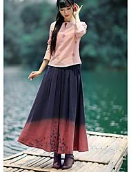 Damen Röcke,A-Linie Muster Patchwork / Bestickt,Ausgehen / Lässig/Alltäglich Einfach Mittlere Hüfthöhe Midi Elastizität Leinen