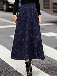 Women's A Line Solid Skirts,Casual/Daily Mid Rise Midi Zipper Cotton Micro-elastic All Seasons