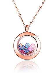 couleur de mode strass en acier inoxydable 316L rempli plaqué or rose collier pendentif