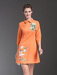 ZIYI Women's Casual/Daily Simple A Line DressSolid V Neck Above Knee  Length Sleeve Orange Polyester Fall Mid Rise Micro-elastic Medium