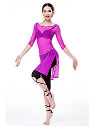 Dança do Ventre Vestidos Mulheres Treino Tule 1 Peça Meia manga Alto Vestido