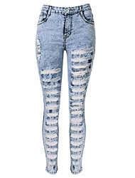 Women's Slim Jeans PantsGoing out / Casual/Daily Simple / Street chic Solid Hole All Match Ripped Mid Rise Button  Micro-elastic Spring / Fall