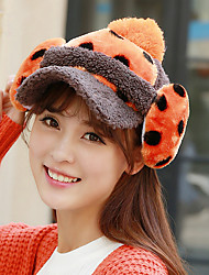 Rabbit Hair Balls Dots Plush Ear Warmth Hat Women Thicker Earmuffs Baseball Cap Removable