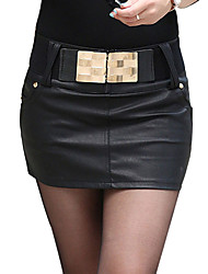 Women's A Line Solid Skirts,Going out Low Rise Mini Zipper Cotton Micro-elastic All Seasons