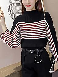 Damen Standard Pullover-Ausgehen Lässig/Alltäglich Einfach Street Schick Gestreift Weiß Schwarz Rundhalsausschnitt Langarm Polyester