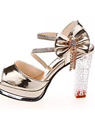 Damen-Sandalen-Lässig-PU-Blockabsatz-Komfort Club-Schuhe-Weiß Gold