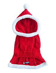 Dog Costume / Hoodie Red Dog Clothes Winter Solid Cosplay / Christmas