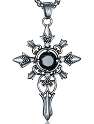 Punk Style Pendant Charm Necklace 316L Stainless Steel Retro Carving Cross Shape Agate Jewelry