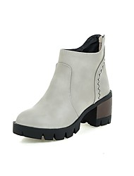 Women's Boots Spring / Fall / Winter Comfort PU Office & Career / Athletic / Casual Chunky Heel Stitching Lace / Slip-onBlack / Brown /