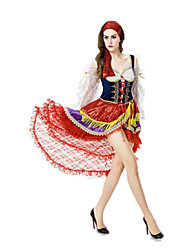 Festival/Holiday Halloween Costumes White & Ink Blue & Red Solid Skirt / Hats Halloween / Christmas / Carnival Female