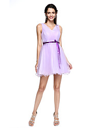 LAN TING BRIDE Short / Mini V-neck Bridesmaid Dress - Short Sleeveless Tulle