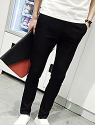 Men's Straight Chinos Pants,Casual/Daily Simple Solid Low Rise Zipper Cotton / Polyester Micro-elastic Summer