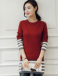 Women's Going out Party/Cocktail Holiday Vintage Street chic Sophisticated Long Pullover,Color Block Multi-color Round Neck Short Sleeve