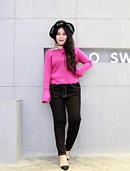 Damen Übergrössen Skinny Jeans Hose-Lässig/Alltäglich Einfach Muster Mittlere Hüfthöhe Reisverschluss / Knopf Baumwolle Micro-elastisch