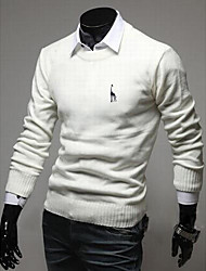 Men's Formal Casual/Daily Vintage Long Pullover,Solid Round Neck Long Sleeves Wool Winter Thick Stretchy