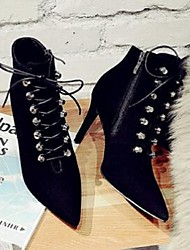 Women's Boots Comfort Suede Casual Black Camel