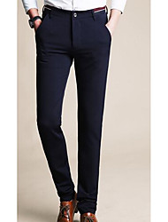 Men's Straight Business Pants,Work Simple Solid Mid Rise Zipper / Button Cotton Micro-elastic Spring / Fall