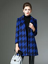 Damen Hahnentrittmuster Retro Lässig/Alltäglich Mantel,Winter Gekerbtes Revers Langarm Blau / Rot / Grau Mittel Andere
