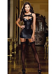 Fashion Faux Leather Dance Club Wear Black Fishnet  Sexy Dresses Clubwear High Quality Leather Dress