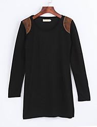 Robe Femme Travail Grandes TaillesCouleur Pleine Col Arrondi Au dessus du genou Manches Longues Rouge Beige Noir Polyester Automne Hiver