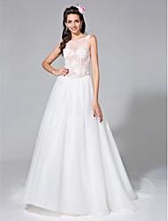 Lanting Bride® Robe de Soirée Robe de Mariage  Transparent Traîne Chapelle Bijoux Tulle avec Appliques / Perlage