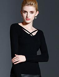 Mujer Regular Pullover Casual/Diario Simple,Un Color Negro Escote Redondo Manga Larga Rayón Acrílico Nailon Otoño Invierno Medio Elástico