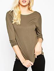Damen Solide Einfach Lässig/Alltäglich T-shirt,Rundhalsausschnitt Langarm Grau Polyester