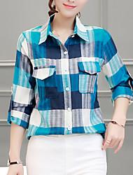 Feminino Camisa Casual Simples Todas as Estações,Xadrez Azul / Laranja Raiom / Poliéster Colarinho de Camisa Manga Longa Fina