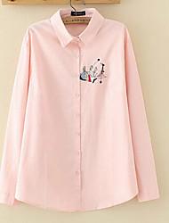 Women's Plus Size Simple Shirt,Print Shirt Collar Long Sleeve Multi-color Linen