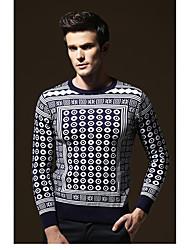 Herren Standard Pullover-Lässig/Alltäglich Retro Street Schick Solide Einfarbig Blau Rundhalsausschnitt Langarm Kunst-Pelz Baumwolle