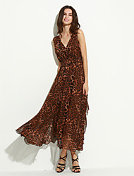 Women's Party/Cocktail Sexy Swing Dress,Leopard V Neck Maxi Sleeveless Multi-color Summer