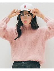 Normal Pullover Femme Décontracté / Quotidien simple,Couleur Pleine Rose Col Roulé Manches Longues Polyester Automne Hiver Moyen